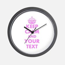 Pink keep calm and carry on Wall Clock