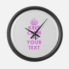 Pink keep calm and carry on Large Wall Clock