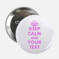 """Pink keep calm and carry on 2.25"""" Button (100 pack"""