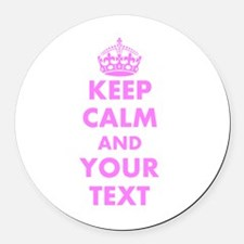 Pink Keep Calm And Carry On Round Car Magnet