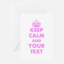 Pink keep calm and carry on Greeting Cards