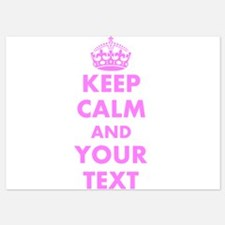 Pink keep calm and carry on Invitations
