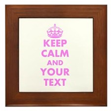Pink keep calm and carry on Framed Tile