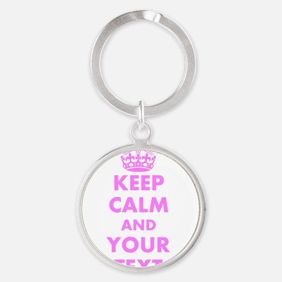 Pink keep calm and carry on Keychains