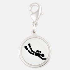 Scuba Diving sports Silver Round Charm