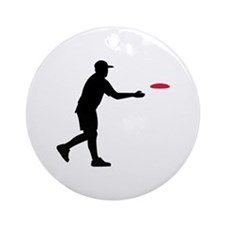 Disc golf player Ornament (Round)