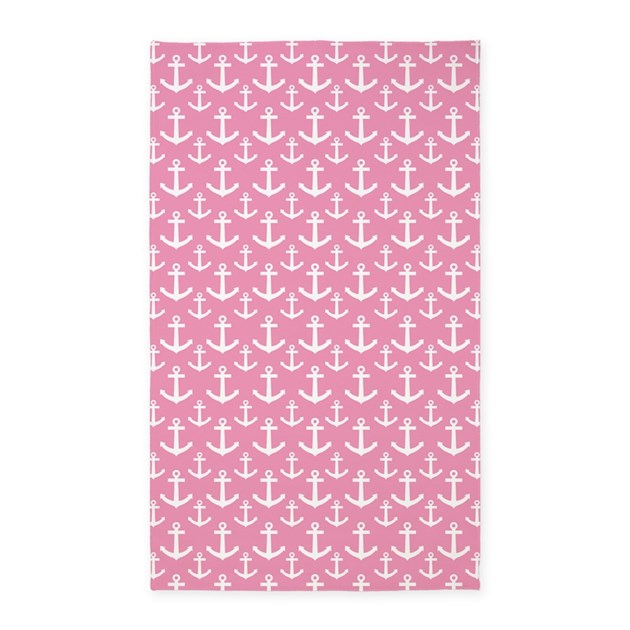 Pink Anchor Nautical 3'x5' Area Rug By CustomGifts123