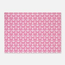 Pink Anchor Nautical 5'x7'Area Rug