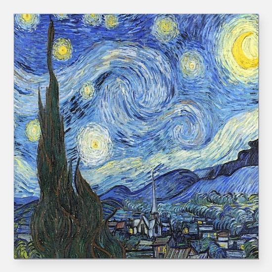 "Van Goghs Starry Night Square Car Magnet 3"" x 3"""