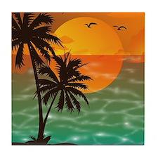 Palm Trees Sunset Tile Coaster