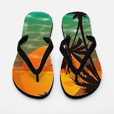 Palm Trees Sunset Flip Flops