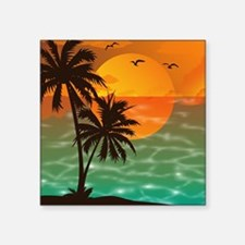 "Palm Trees Sunset Square Sticker 3"" x 3"""