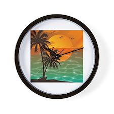 Palm Trees Sunset Wall Clock