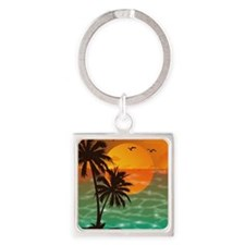 Palm Trees Sunset Square Keychain