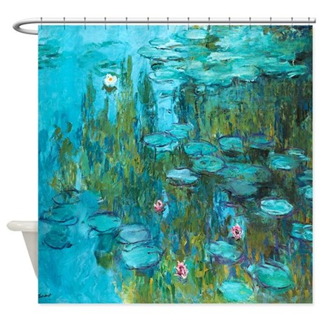 water lilies by claude monet shower curtain by v ink