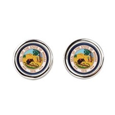 Indiana Seal.png Round Cufflinks