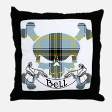 Bell Tartan Skull Throw Pillow