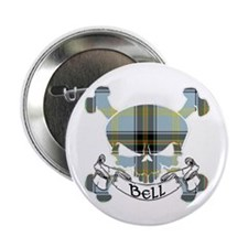 """Bell Tartan Skull 2.25"""" Button"""