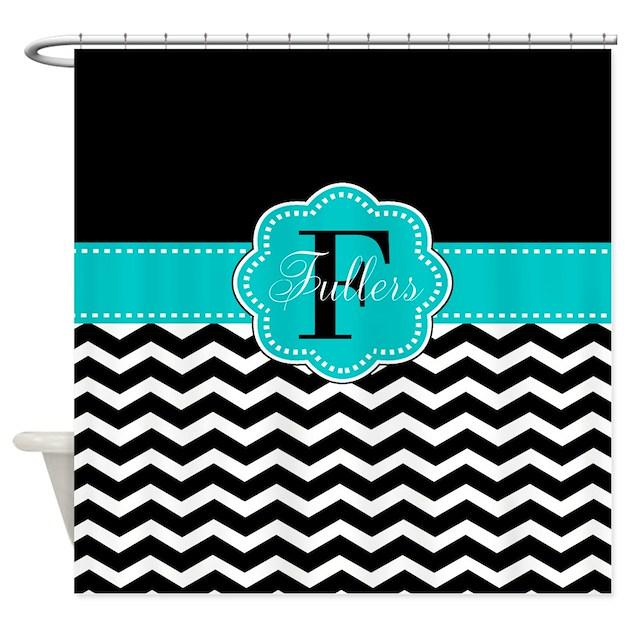 Black Teal Chevron Personalized Shower Curtain By CupcakesandSprinklesBirthda