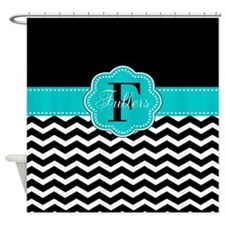 Black Teal Chevron Personalized Shower Curtain