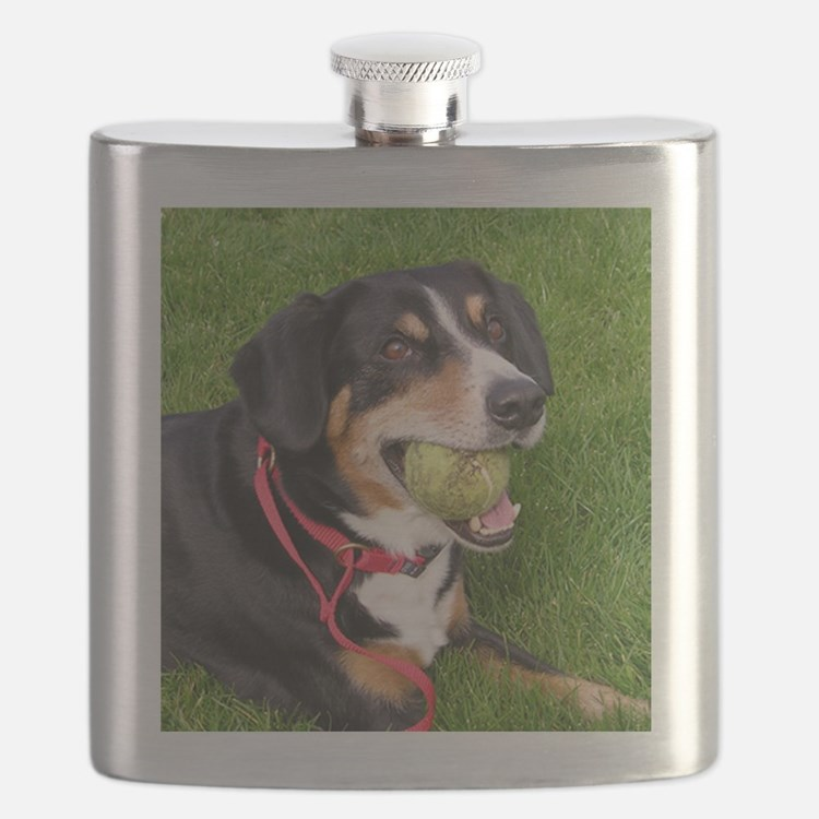 entlebucher mountain dog w ball Flask