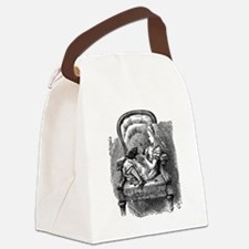 Vintage black and white alice in  Canvas Lunch Bag