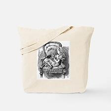 Vintage black and white alice in wonderla Tote Bag