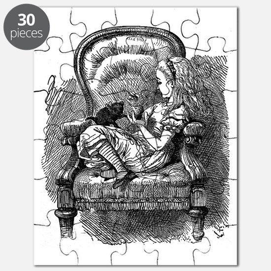 Vintage black and white alice in wonderland Puzzle