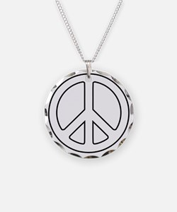 White Peace Symbol Necklace
