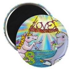 Narwhal and Unicorn Knitting Love Together Magnets