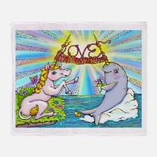 Narwhal and Unicorn Knitting Love Together Throw B