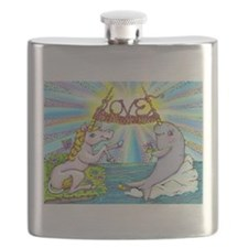 Narwhal and Unicorn Knitting Love Together Flask