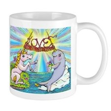 Narwhal and Unicorn Knitting Love Together Mugs