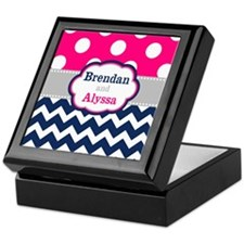 Pink Navy Dots Chevron Personalized Keepsake Box