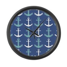 Nautical Anchor Pattern Navy Blue and Teal Large W