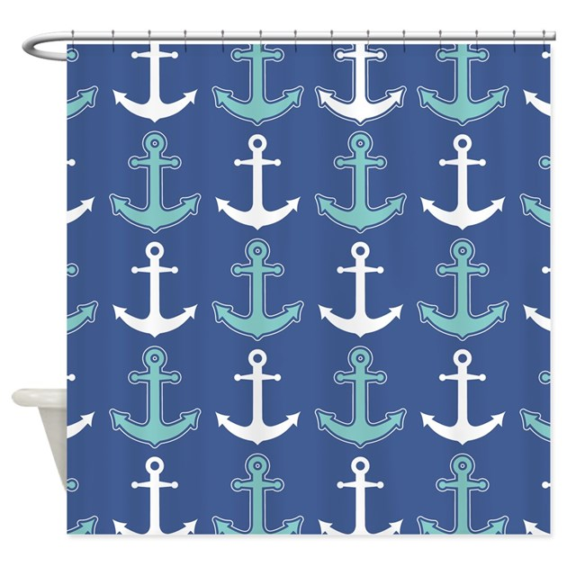 Nautical Anchor Pattern Navy Blue and Teal Shower by ...