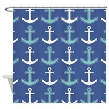 Nautical Anchor Pattern Navy Blue and Teal Shower