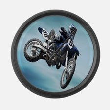 Dirt Bike Jump Large Wall Clock