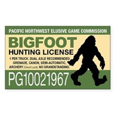 Bigfoot Hunting License Decal