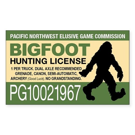 Bigfoot hunting license bumper stickers by for California 1 day fishing license