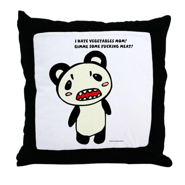 Panda Bear Throw Pillow by psychobrainyaoi