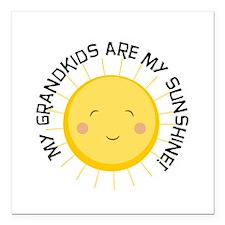 "Grandkids Are Sunshine Square Car Magnet 3"" x 3"""