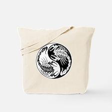White and Black Yin Yang Scorpions Tote Bag