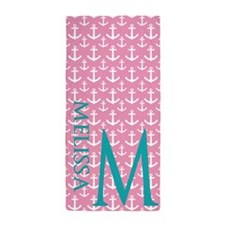 Anchors Pattern Personalized Beach Towel