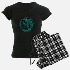 Black and Teal Blue Yin Yang Koi Fish pajamas