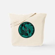 Black and Teal Blue Yin Yang Koi Fish Tote Bag
