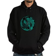 Black and Teal Blue Yin Yang Koi Fish Hoodie