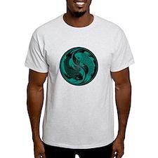 Black and Teal Blue Yin Yang Koi Fish T-Shirt