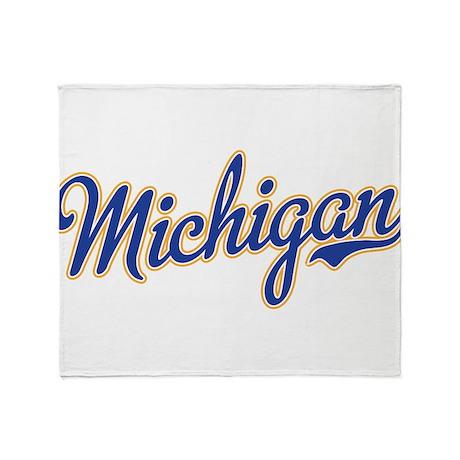 Michigan Script Font Throw Blanket