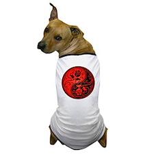Red and Black Yin Yang Roses Dog T-Shirt
